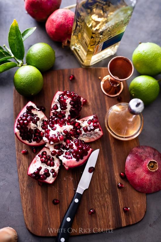 Pomegranate on a cutting board