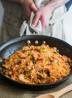 Favorite Pork and Noodle Stir Fry with KimChi. These are loaded with flavor and so delicious | WhiteOnRiceCouple.com