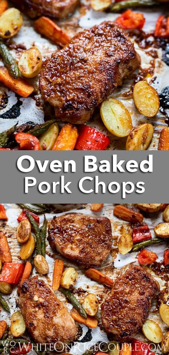 Juicy Baked Pork Chops Recipe with Vegetables is Best Pork Chops Recipe @whiteonrice #porkchops #pork #sheetpan #sheetpan dinners