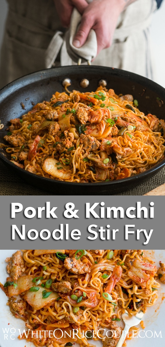 Ramen Hack Recipe- Korean Pork Noodles with Kimchi Pickles   WhiteOnRiceCouple.com