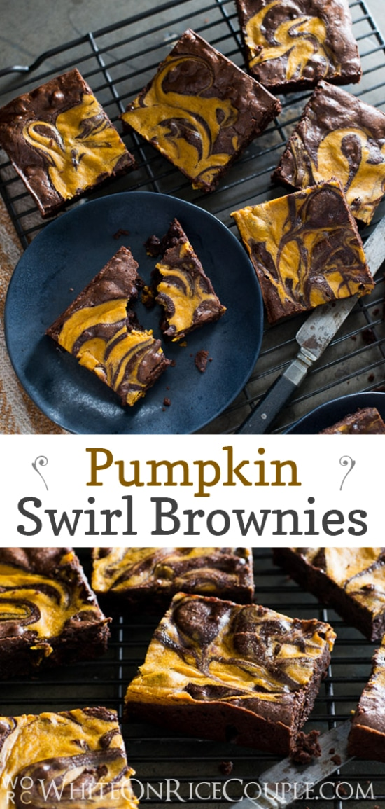 Fudgy and Chewy Pumpkin Swirl Brownie Recipe on @whiteonrice