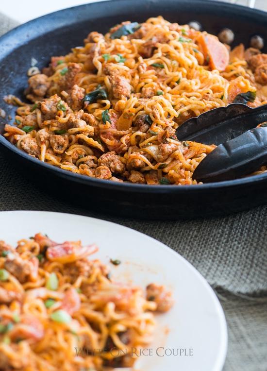Ramen Hack Recipe- Korean Pork Noodles with Kimchi Pickles | WhiteOnRiceCouple.com