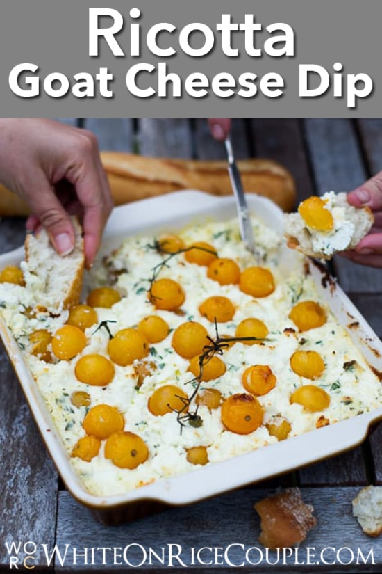 Baked Cherry Tomato, Goat Cheese & Ricotta Dip: easy and delicious cheesy, hot dip appetizer | @whiteonrice |whiteonricecouple.com