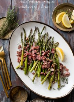 Roasted Asparagus Recipe with Garlic and Ham | @whiteonrice