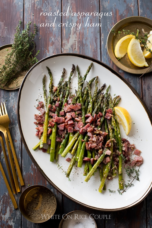 Garlic Roasted Asparagus with Crispy Ham