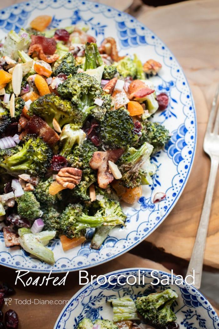 Roasted broccoli salad on a plate
