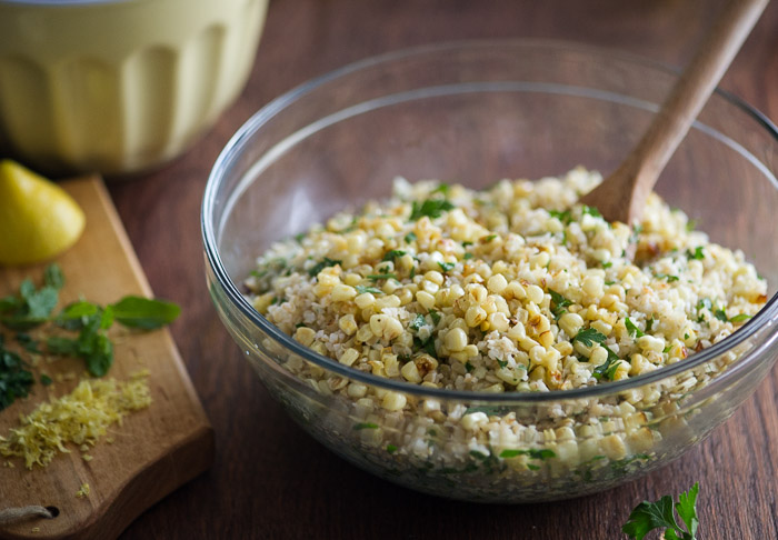 Roasted Corn Tabouli Salad in a glass bowl