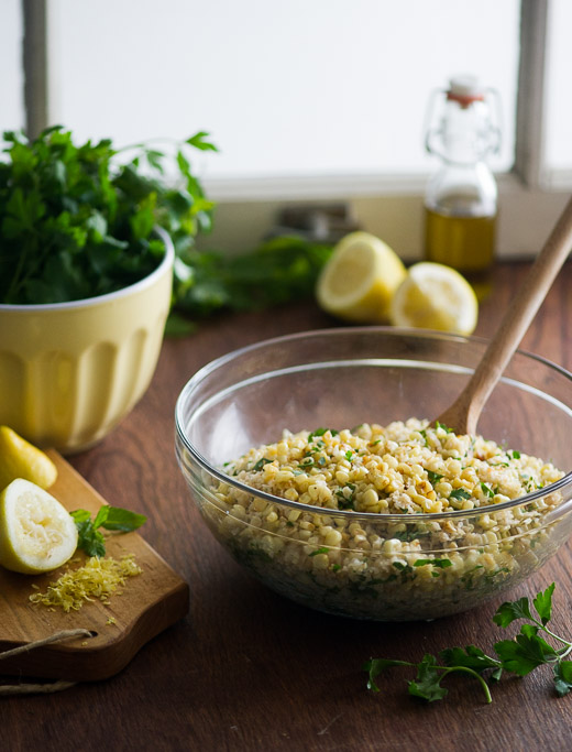 Roasted Corn Tabouli in a glass bowl