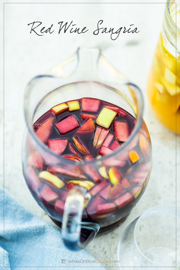 Sangria Recipe with Red Sangria or White Sangria in a glass jar