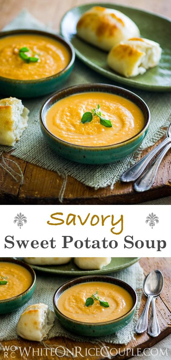 Savory sweet potato soup recipe @whiteonrice