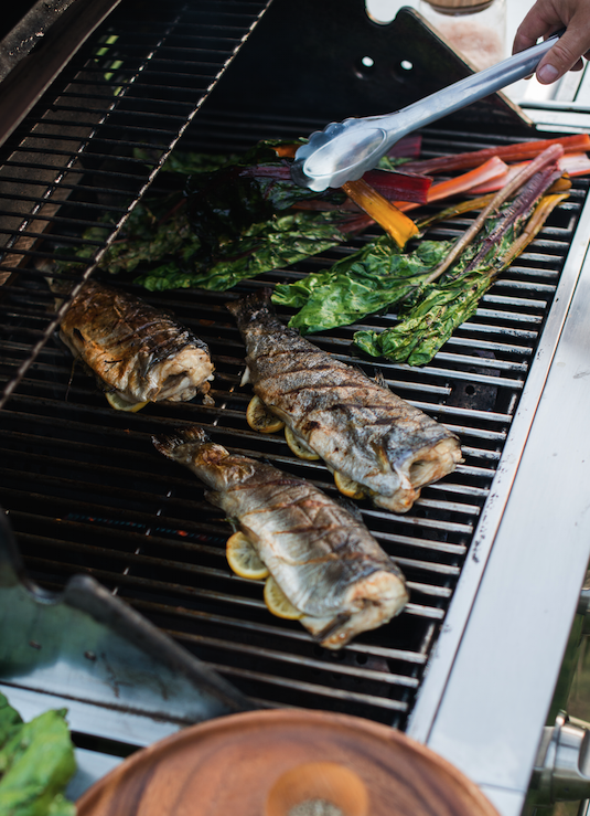 Grilled Rainbow Trout Recipe with Rainbow Chard from @whiteonrice
