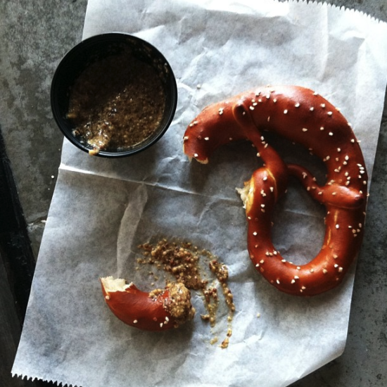 Pretzel and beer at Easy Tiger, Austin Texas photo by @whiteonrice