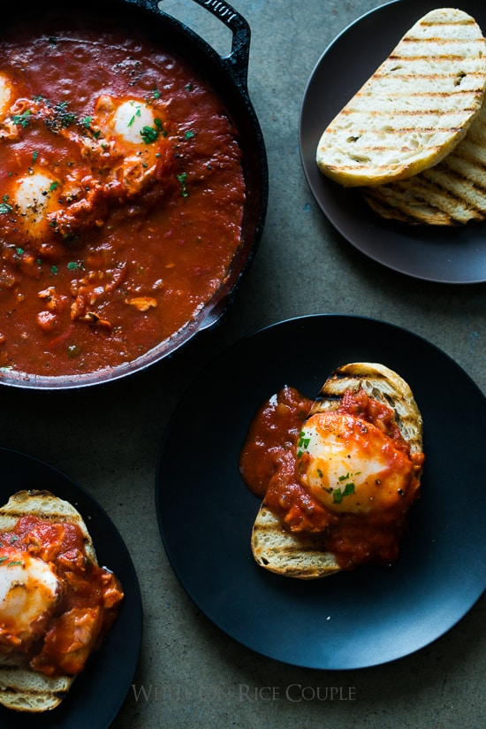 Poached Eggs in Tomato Sauce Shakshuka or Shakshouka Recipe | @whiteonrice