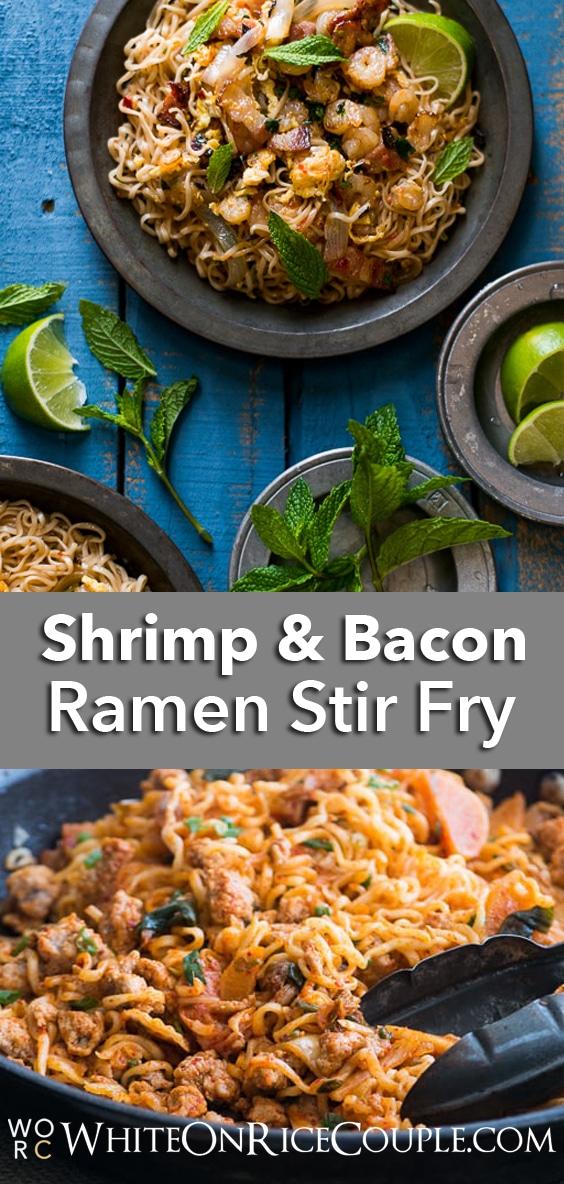 Easy Ramen Noodle Stir Fry Recipe with Bacon & Shrimp on @whiteonrice