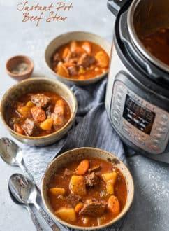 Slow Cooker Beef Stew Recipe in Instant Pot Pressure Cooker @whiteonrice