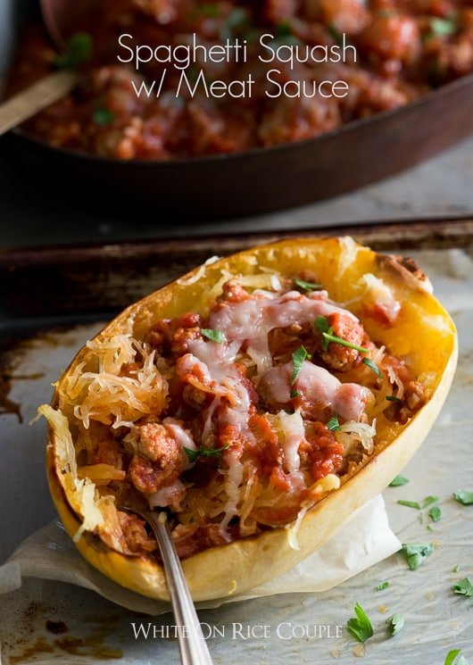 Spaghetti Squash Recipe with Meat Tomato Sauce Recipe @whiteonrice