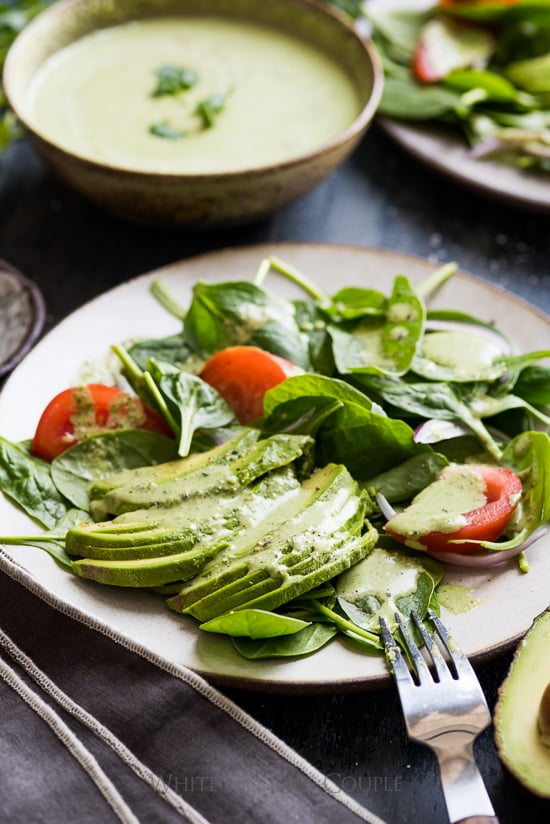 Spinach Avocado Salad with Creamy Cilantro Dressing Recipe | @whiteonrice