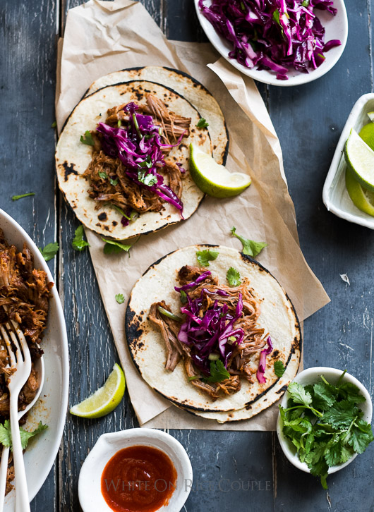 Killer Sriracha Pulled Pork Tacos Recipe from @whiteonrice