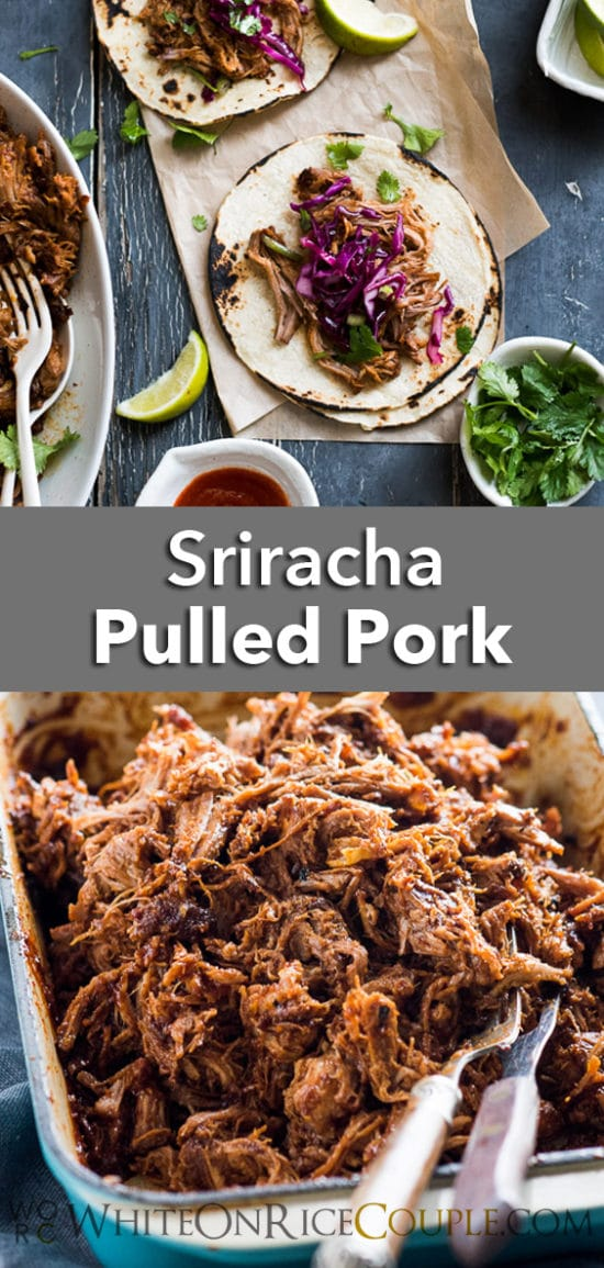 Sweet and Sriracha Spicy Oven Roast Pulled Pork Recipe from @whiteonrice on whiteonricecouple.com