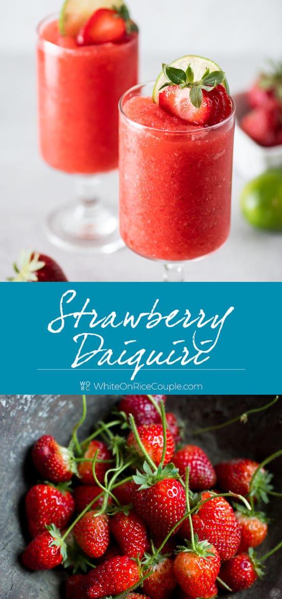 Strawberry Daiquiri Cocktail step by step photos