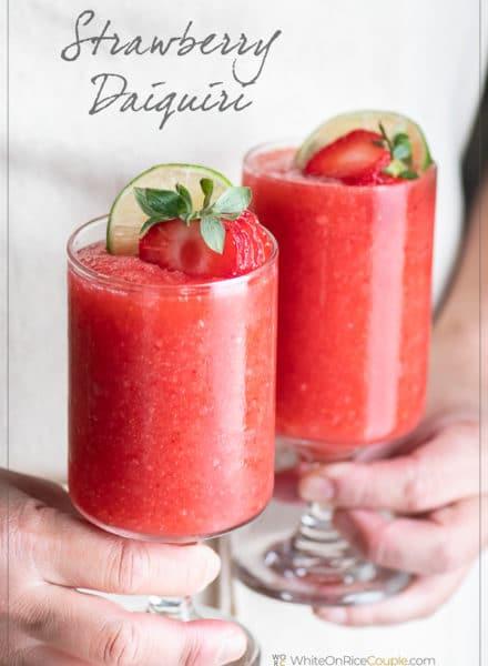 Strawberry Daiquiri Cocktail Recipe   WhiteOnRiceCouple.com