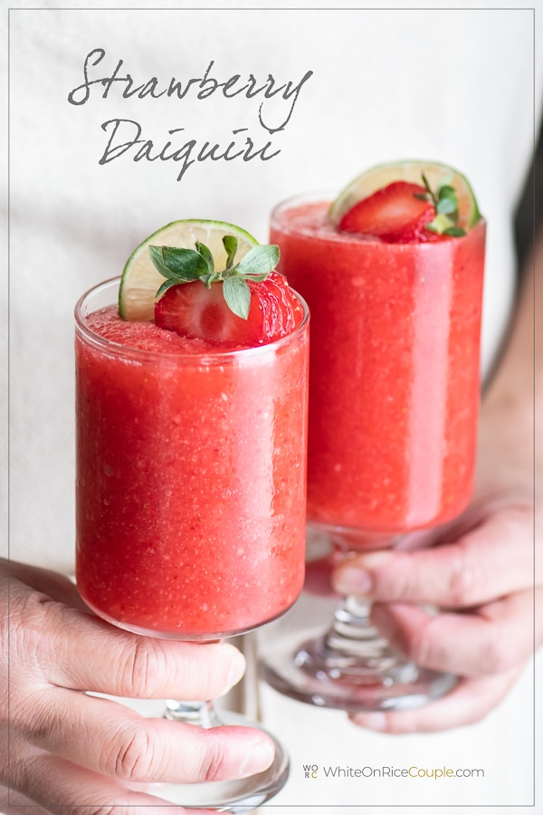 Strawberry Daiquiri Cocktail Recipe Rum Lime White On Rice Couple