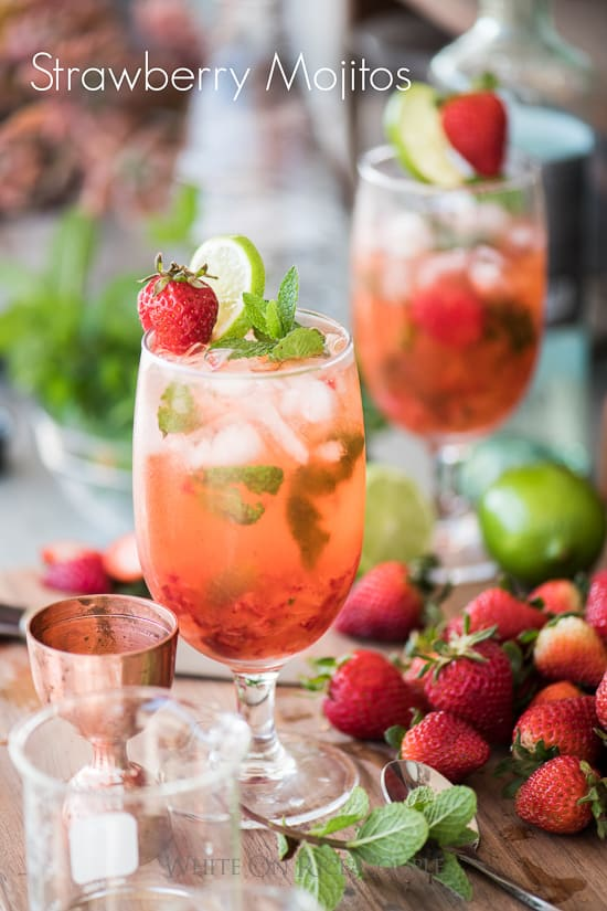 Strawberry Mojito Recipe is the perfect Mojitos Recipe or Strawberry Cocktail Recipe | @whiteonrice