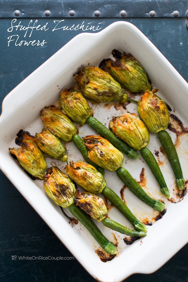 Zucchini Flowers Recipe Stuffed W Bacon Ricotta Mushroom Blossoms