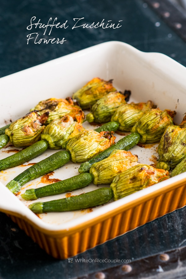 Stuffed Zucchini Flowers Recipe with Ricotta, Bacon | WhiteOnRiceCouple.com