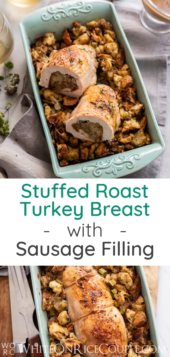 Stuffed Roast Turkey Breast with Thanksgiving Stuffing | @whiteonrice