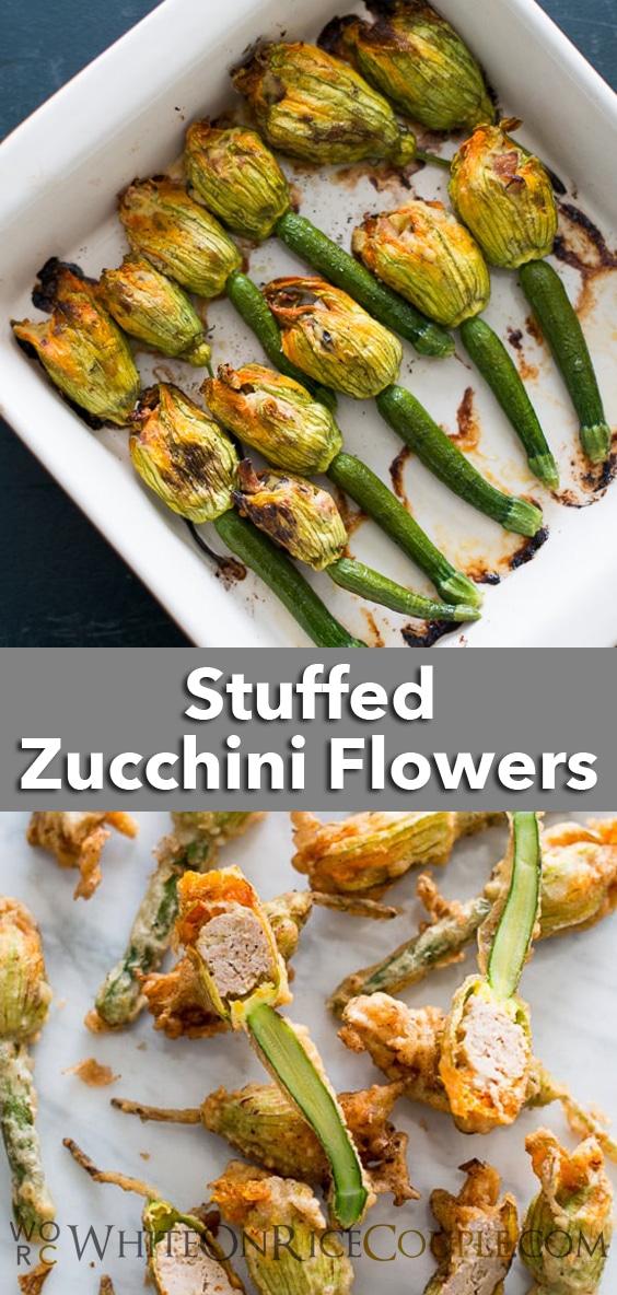 Stuffed Zucchini Flowers Recipe with Ricotta, Bacon | WhiteOnRiceCouple.com