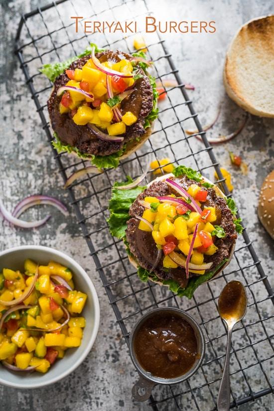 Teriyaki Burgers with Homemade Teriyaki Sauce Recipe and Mango Salsa on burger patties