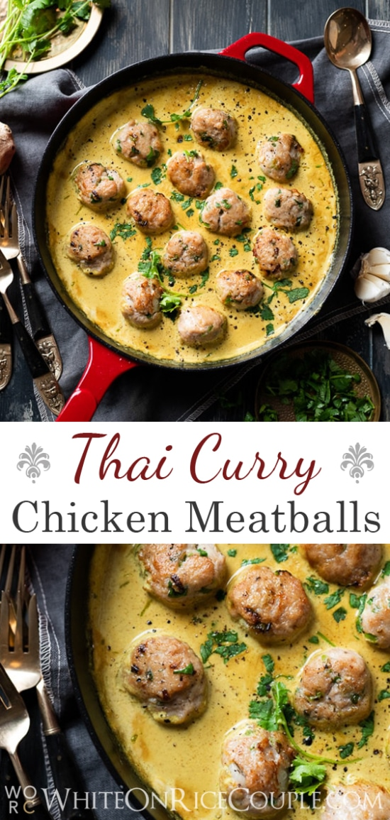 Thai Curry Chicken Meatballs Recipe @whiteonrice