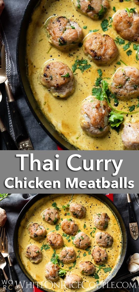 Thai Curry Chicken Meatballs Recipe @whiteonrice