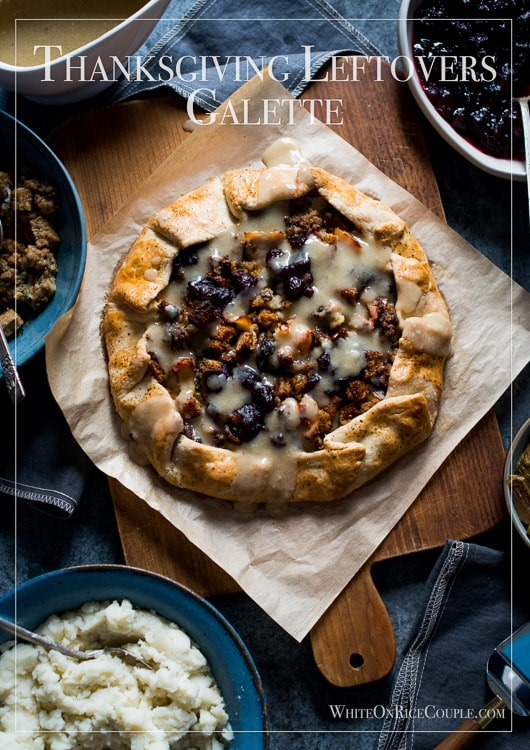 Tired of Leftover turkey sandwiches? Try Thanksgiving Leftovers Galette Recipe or Leftover Thanksgiving Galette is the answer - @whiteonrice