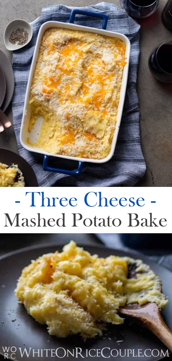 Three Cheese Mashed Potato Casserole Bake | @whiteonrice