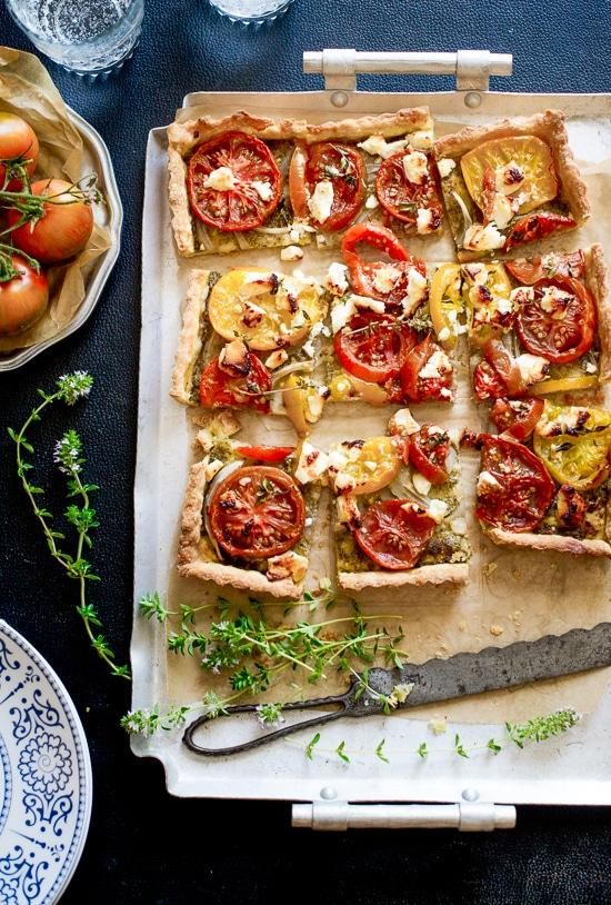 Heirloom Tomato Tart on a baking sheet