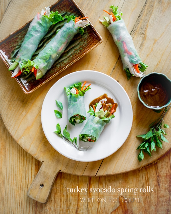 Turkey Spring Rolls With Avocado And Peanut Dip White On Rice Couple