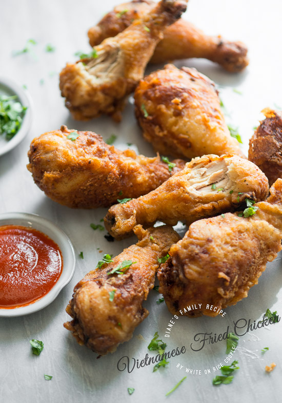 Crispy and flavorful Vietnamese Fried Chicken on a board close up
