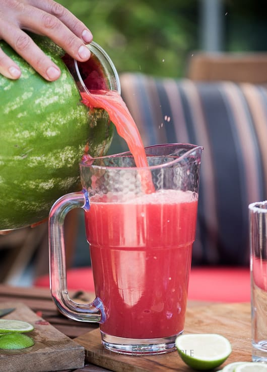 Watermelon Margaritas made inside a watermelon and blended together | @whiteonrice