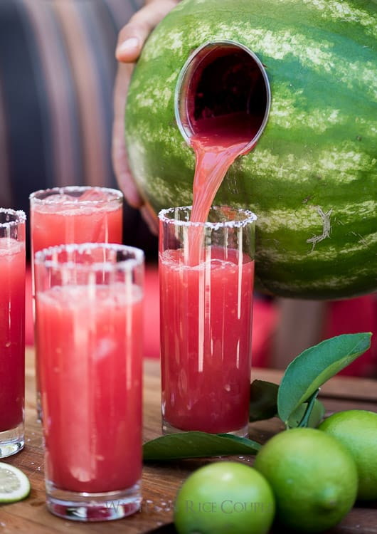 """Inside a Watermelon"" Margaritas – Fresh & Perfect For A Crowd"