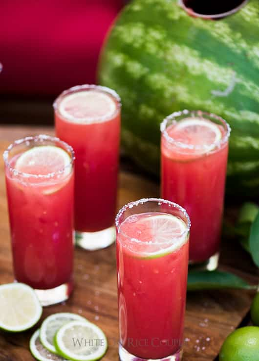 Watermelon Margaritas in glass cups