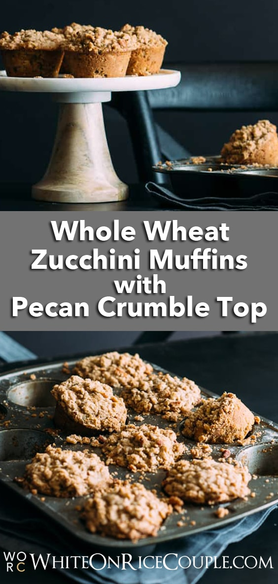 Whole wheat zucchini muffins with pecan crumble topping | @whiteonrice