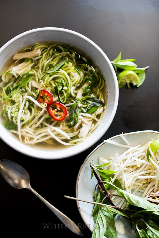 Zucchini noodle chicken pho soup recipe by @whiteonrice