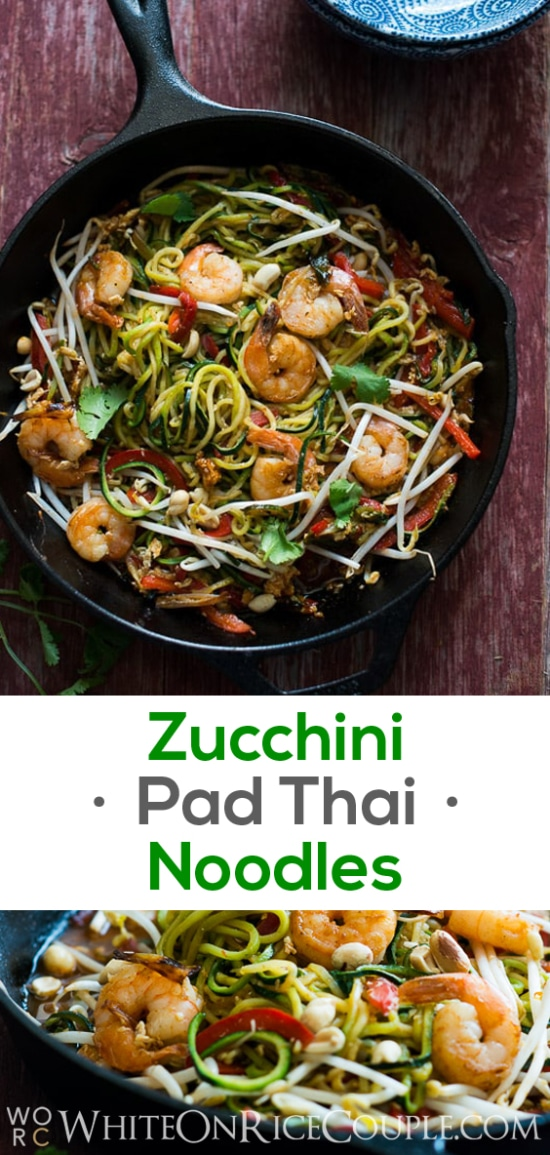 Healthy Zucchini Noodle Chow Mein Recipe on @whiteonrice