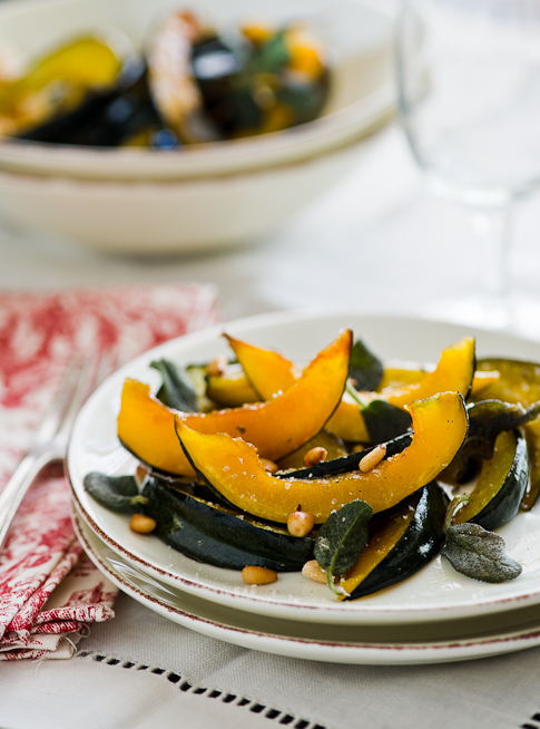 Roasted Acorn Squash Recipe with Sage on plate