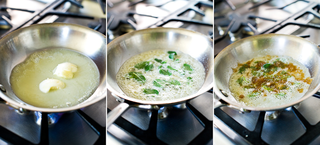 frying butter and sage