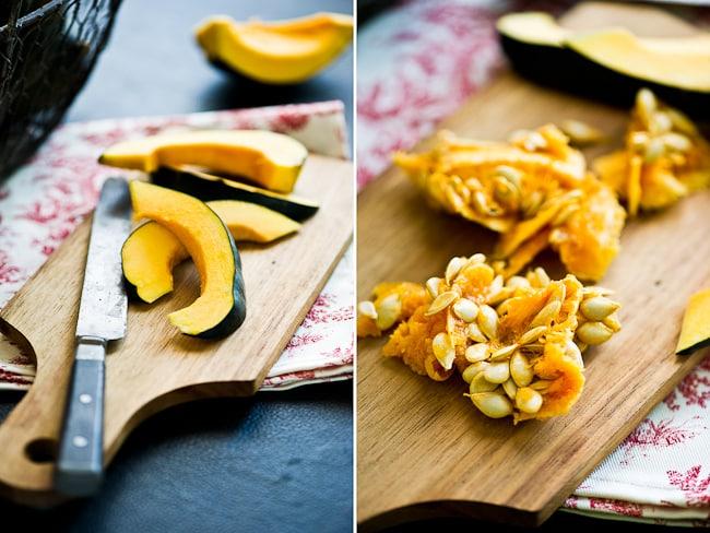 prepping acorn squash