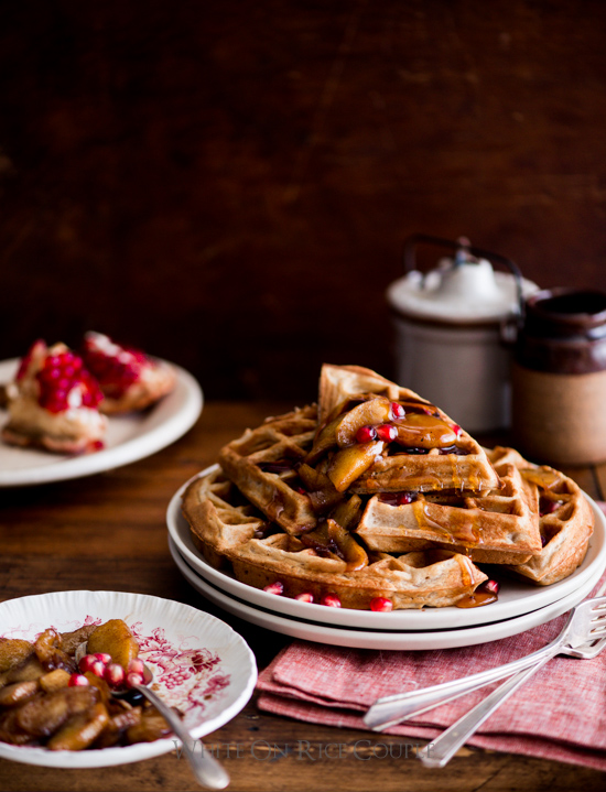 Apple Cider Waffles with Sauteed Apples & Pomegranates from WhiteOnRiceCouple.com
