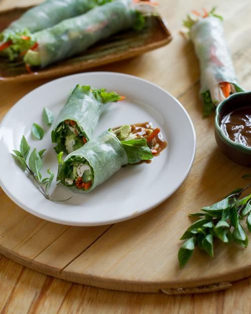 Fresh Turkey Spring rolls with Avocado   Spring Roll Recipe @whiteonrice